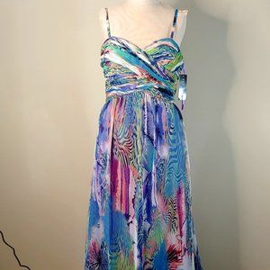 NWT Faviana Multi-Color Long Gown Style #9528